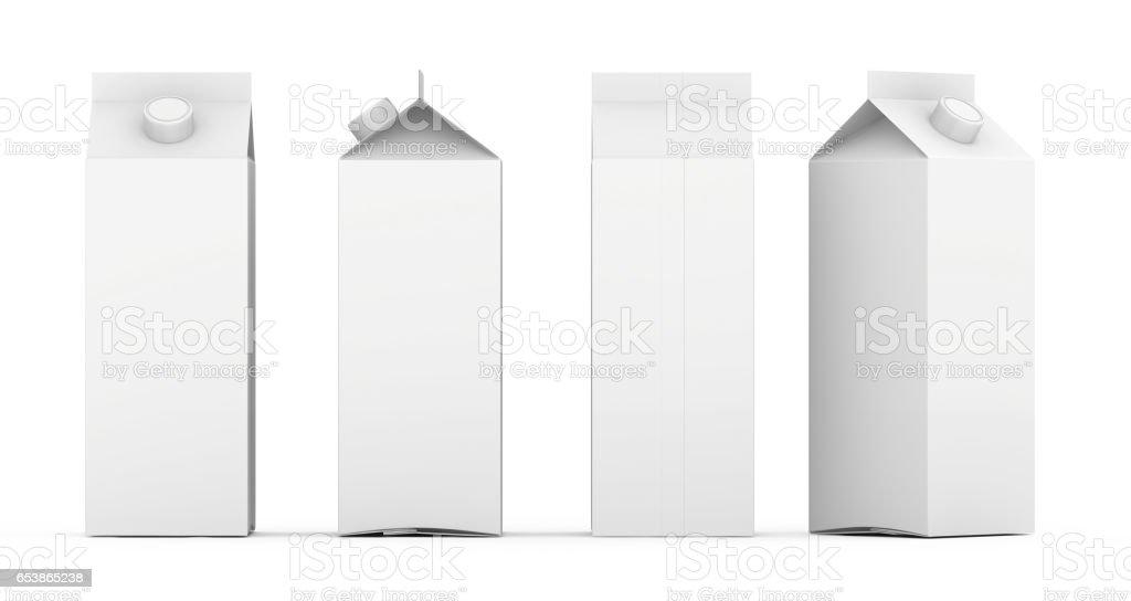 Grupo de modelo vazio caixas de leite e suco com tampa. Isolado no branco. renderização 3D - foto de acervo
