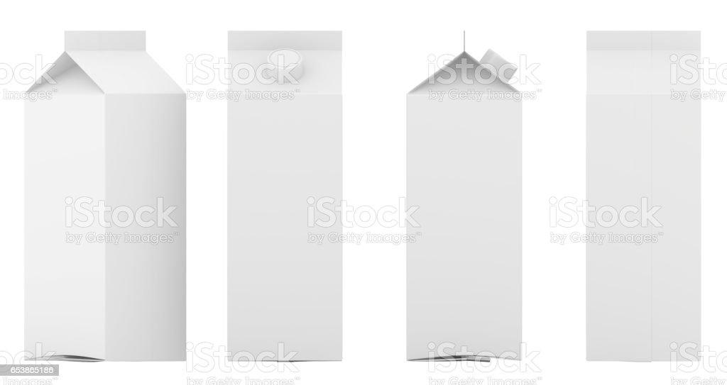 Groupe de modèle vide boîtes de lait et jus avec couvercle. Paquet de détail. Isolé sur blanc. rendu 3D. - Photo