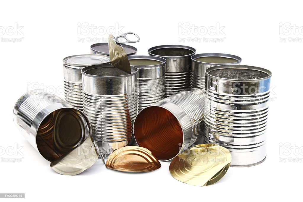 Group of empty tin cans royalty-free stock photo