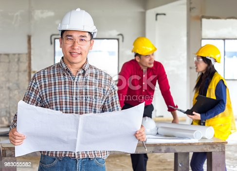 681142982 istock photo Group of engineer/architect/worker man and woman discussing about building plan for construction at job site, working on desk/table with drawing/blueprint/business plan 983055582