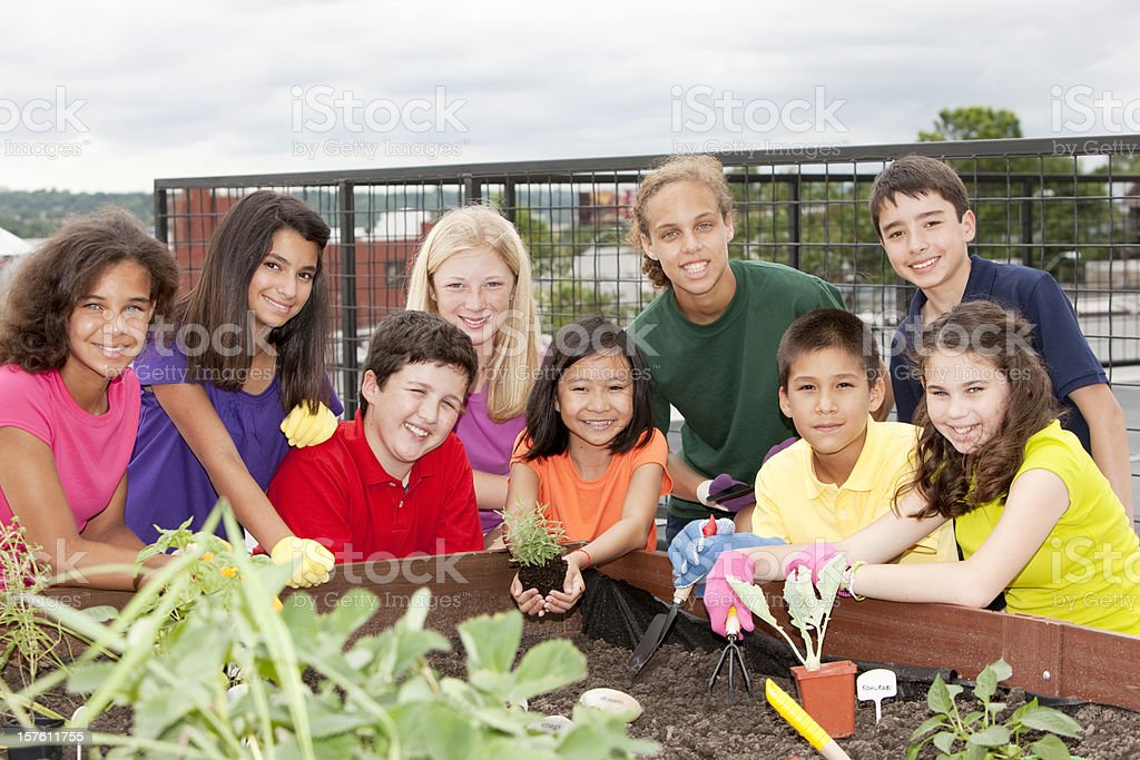 Group Of Ethnically Diverse Children Planting Urban ...