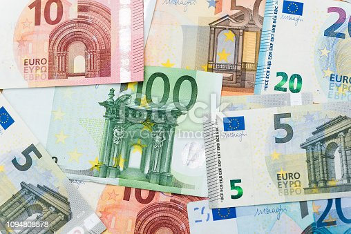 Group of euro bills background.