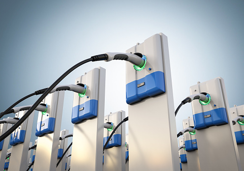 3d rendering group of EV charging stations or electric vehicle recharging stations