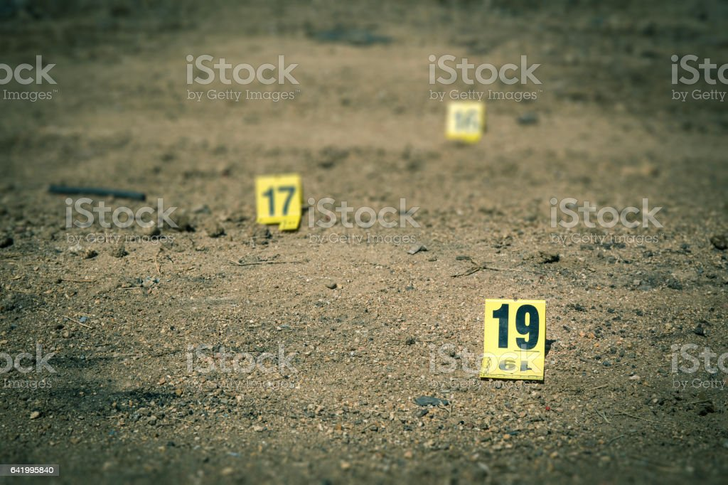 group of evidence marker in crime scene investigation stock photo