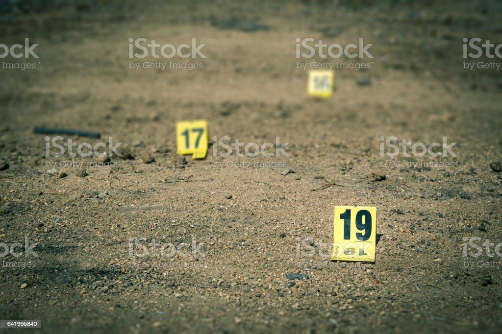 Gruppe von Beweise Marker in den Tätern – Foto