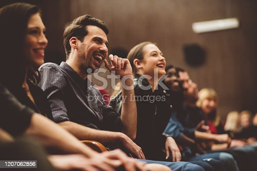 483876497 istock photo Group of excited people in the movie theater 1207062856