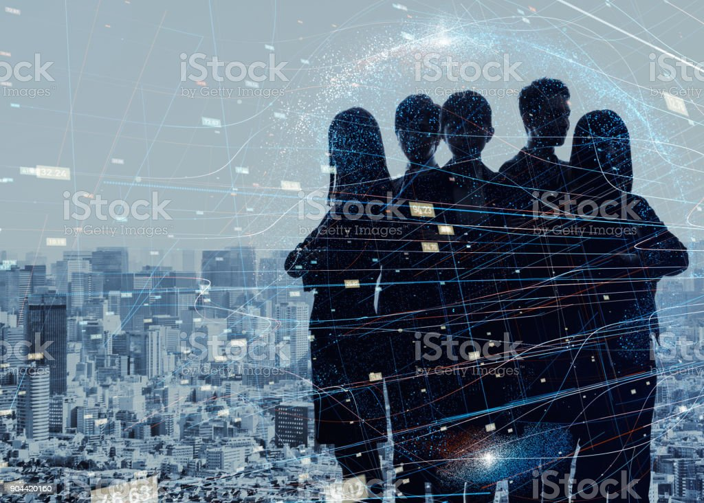 Group of experts. Silhouette of five business persons. - Foto stock royalty-free di Abilità