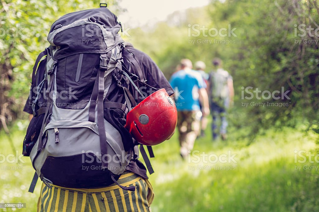 group of explorers climbing hill through forest stock photo