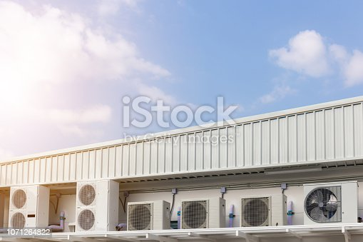 1132460292 istock photo Group of External air conditioning and compressors units outside a building with blue sky background 1071264822