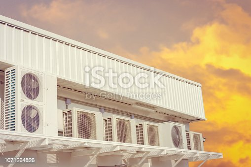 1132460292 istock photo Group of External air conditioning and compressors units outside a building with sunset sky background 1071264826