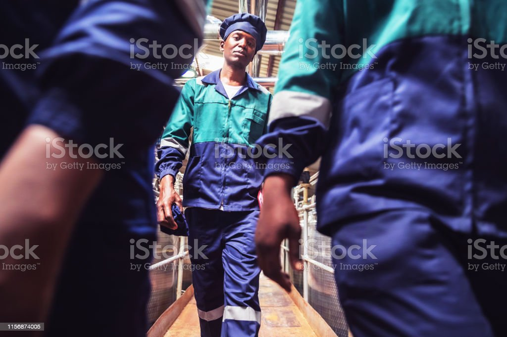 Africa, Work, Walking, Dairy Factory - Food Processing Plant Workers...