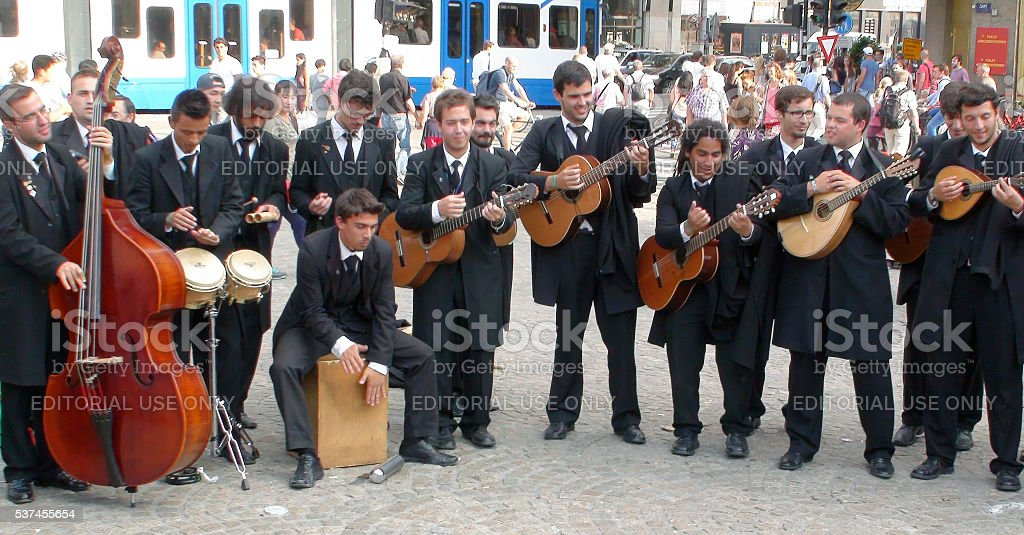 Group Of Fado Musical Band Playing In Amsterdam.Netherlands stock photo