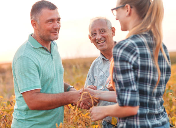 Group of farmers standing in a field examining soybean crop before harvesting. Handshake for deal, group of farmers standing in a field examining soybean crop before harvesting. rancher stock pictures, royalty-free photos & images