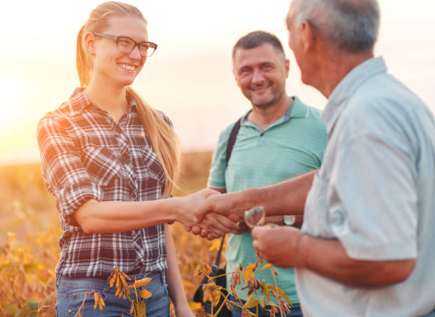 Group of farmers standing in a field examining soybean crop before harvesting. Handshake for deal, group of farmers standing in a field examining soybean crop before harvesting. agricultural cooperative stock pictures, royalty-free photos & images