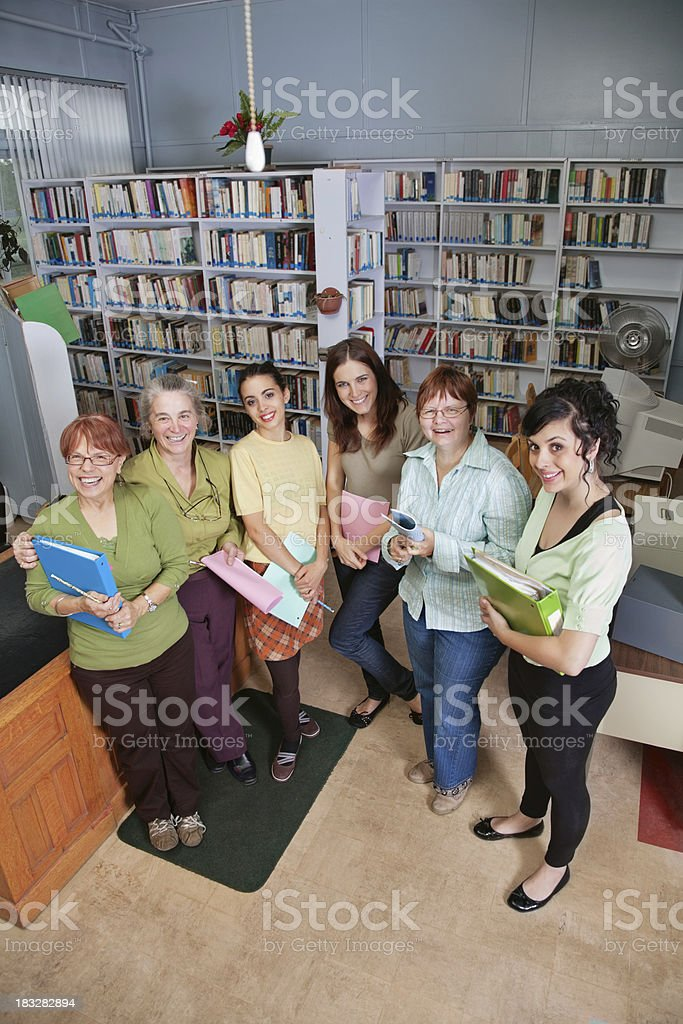 Group of Female Educators in a School Library royalty-free stock photo