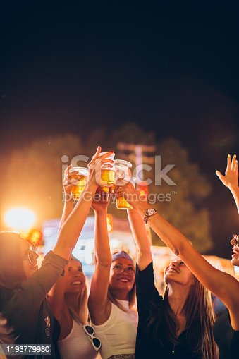 Group of female friends cheering with beer in amusement park