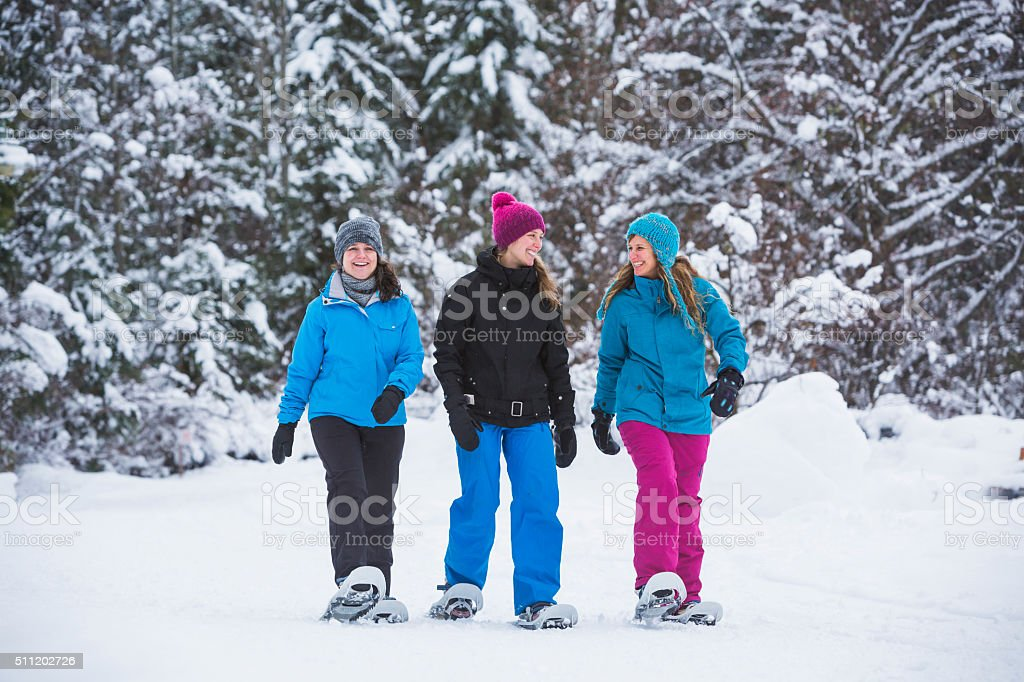 Group of female friends snowshoeing in forest. stock photo