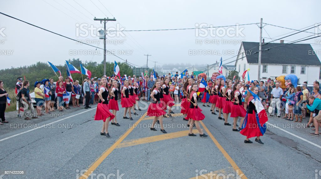 group of female heritage dancers at Acadien Festival stock photo