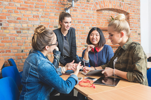 Group Of Female Studens Working Together Stock Photo - Download Image Now