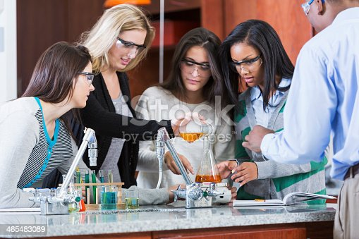 129300487 istock photo Group of female students in chemistry class 465483089