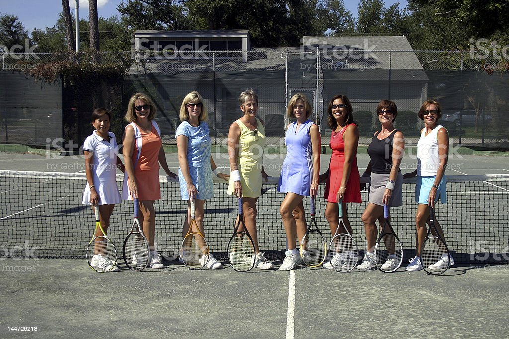 group of female tennis players royalty-free stock photo