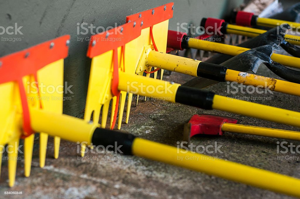 Group of Fire Fighting Tools stock photo