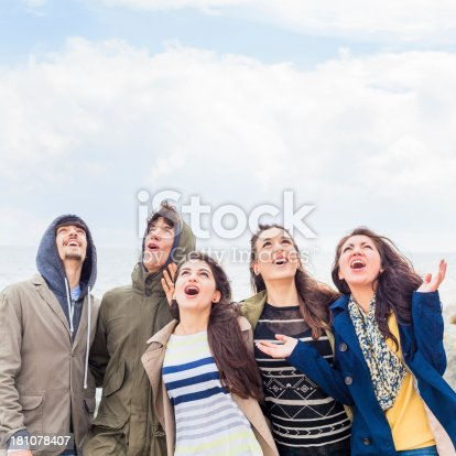 istock Group of Five Cheerful Teenagers Looking Up 181078407