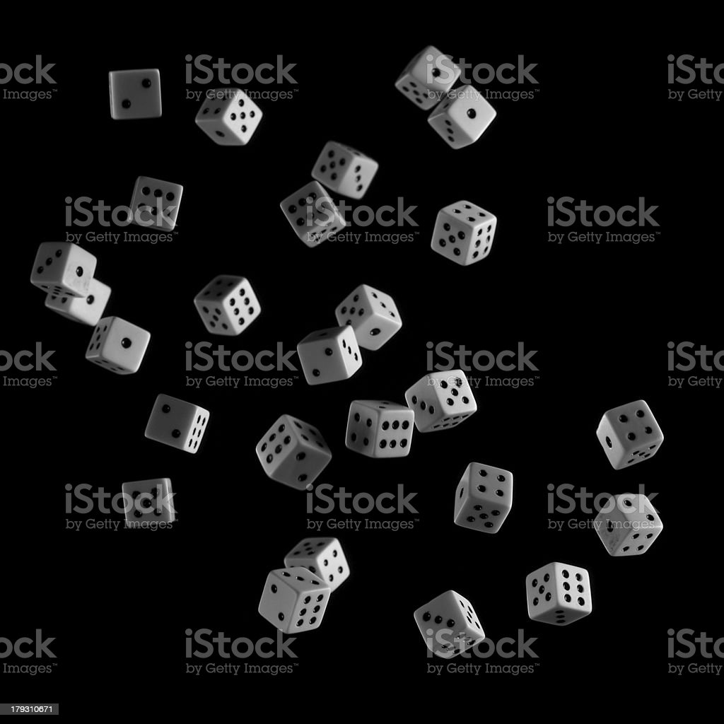Group of Floating Dice on Black Background royalty-free stock photo