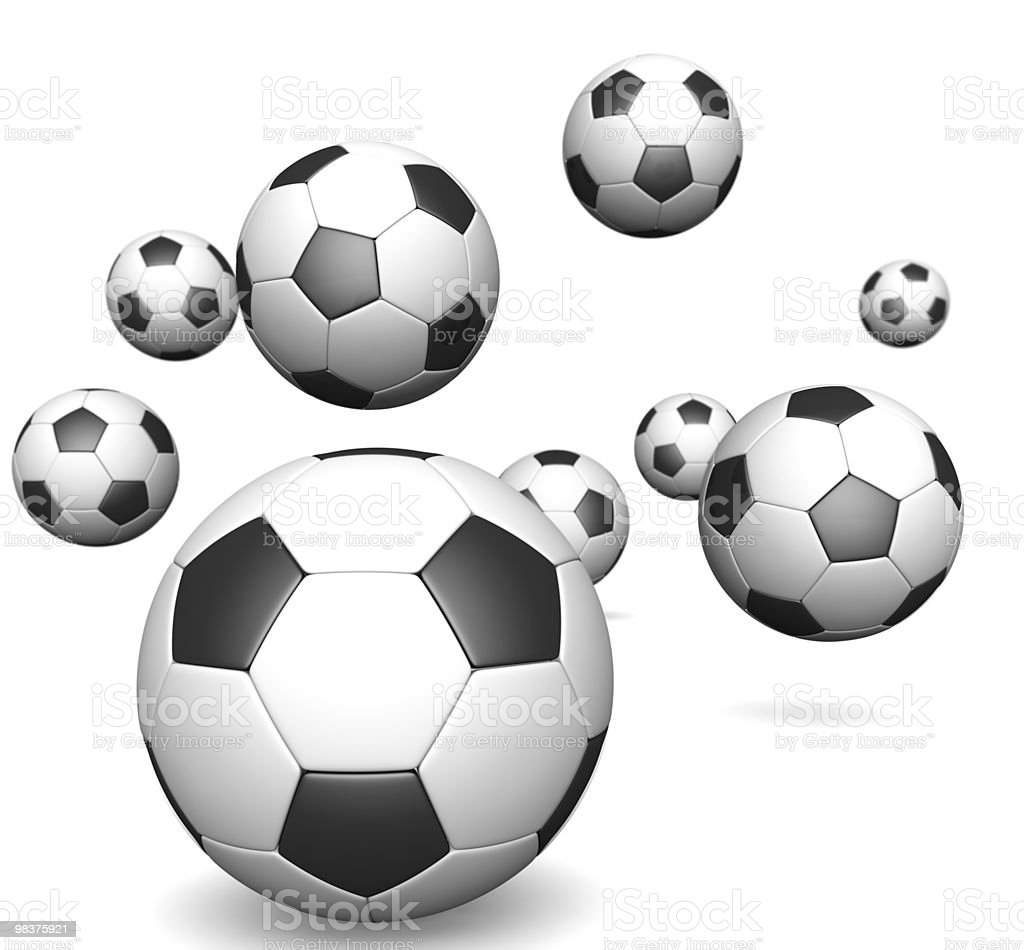 Group of football falling isolated royalty-free stock photo