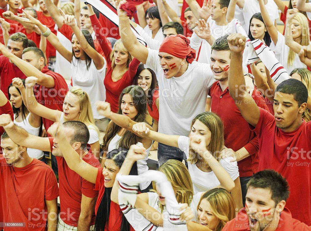 Group of football fans cheering. stock photo