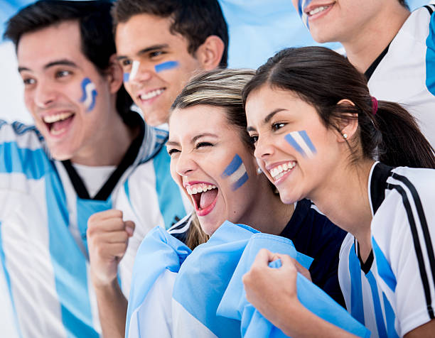 Group of football fans stock photo