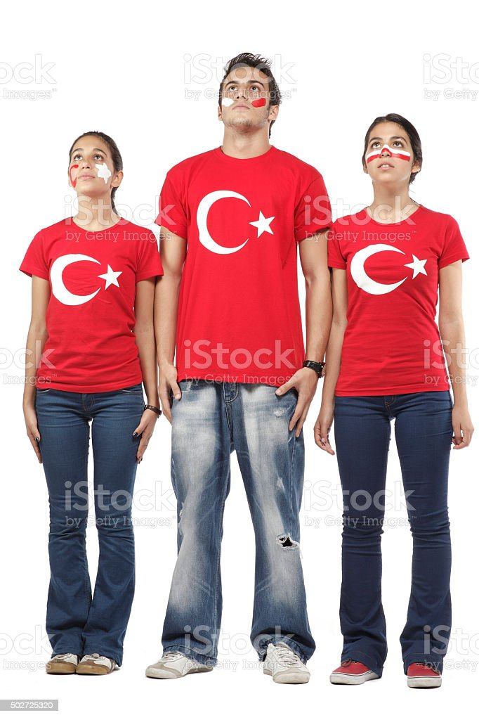 Group of football fans with Turkish flag t-shirt stock photo