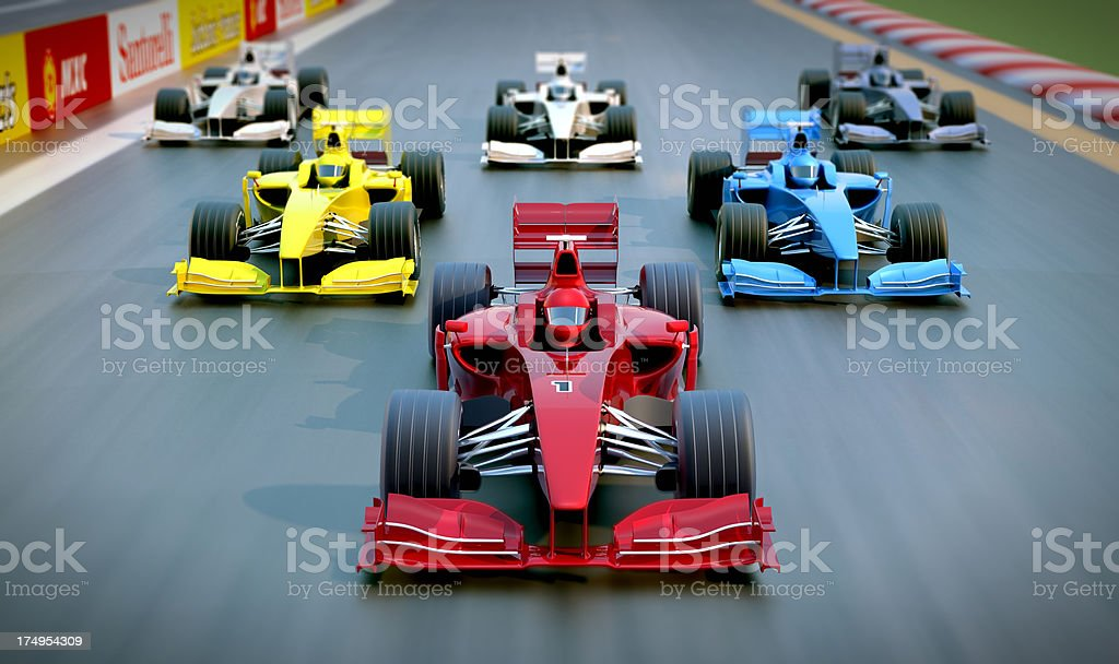 3D group of Formula One racing cars stock photo