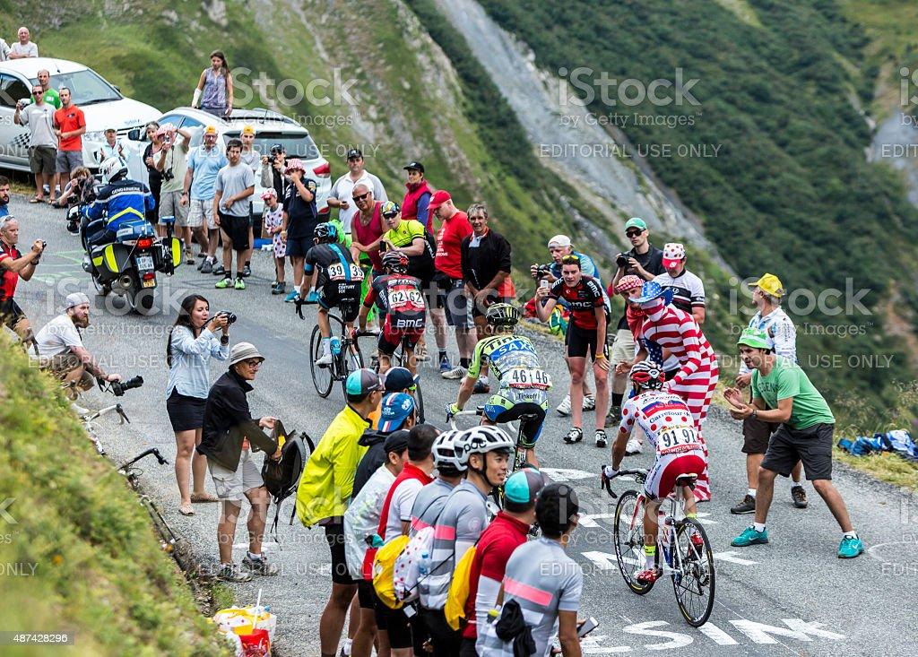 Group of Four Cyclists - Tour de France 2015 stock photo