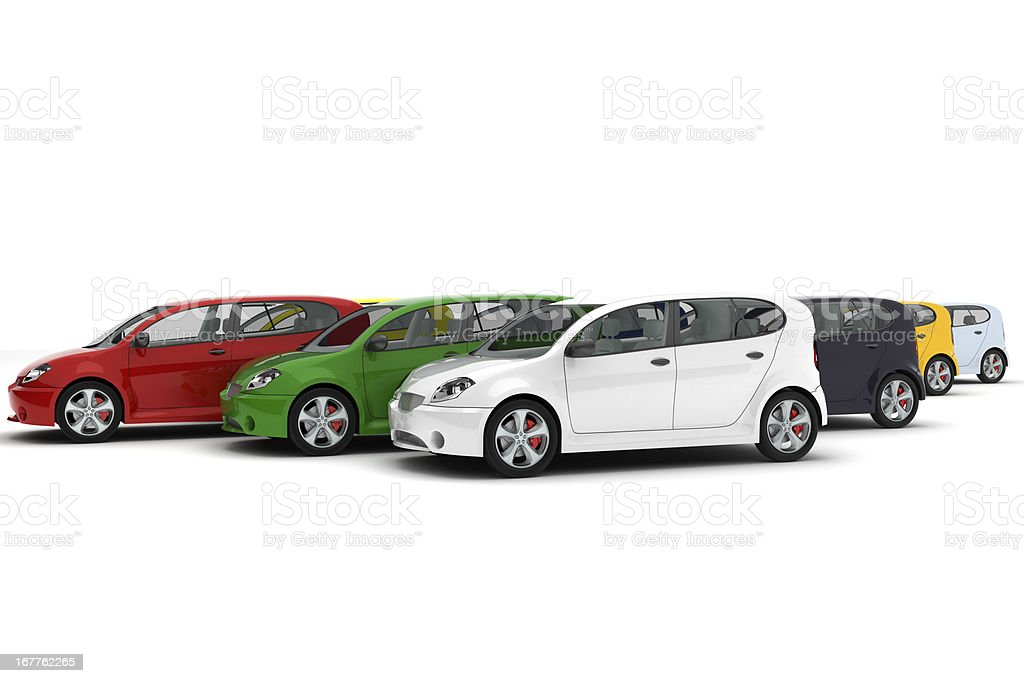 Group of four door cards with hatchbacks in assorted colors stock photo