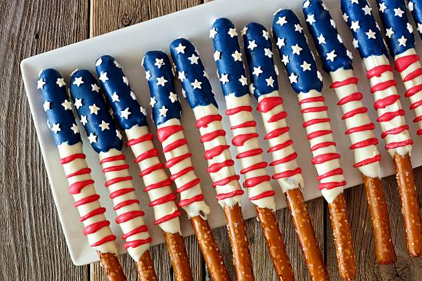 Group of Fourth of July American flag pretzel rods stock photo