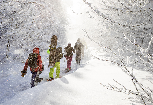 Group of freeriders climbing up a winter trail