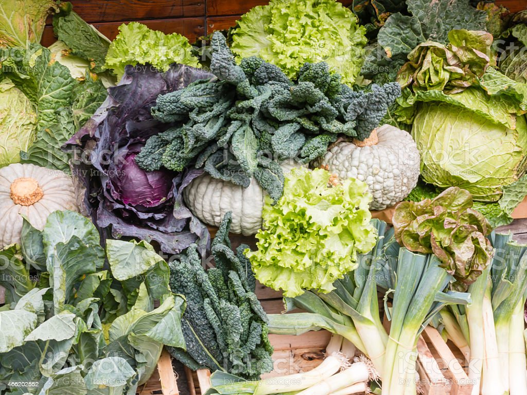Group of Fresh Organic Assorted Green Vegetables stock photo