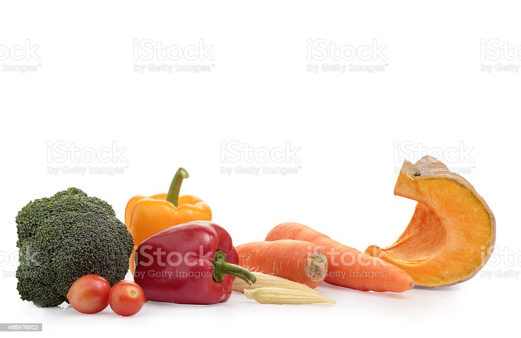Group of fresh vegetables on white background. stock photo