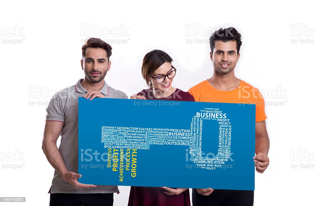 Group of friends and the key to success concept stock photo