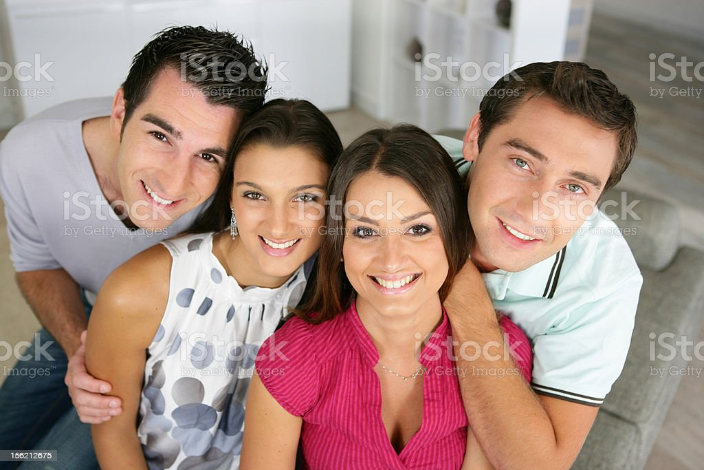 Group of friends at home royalty-free stock photo