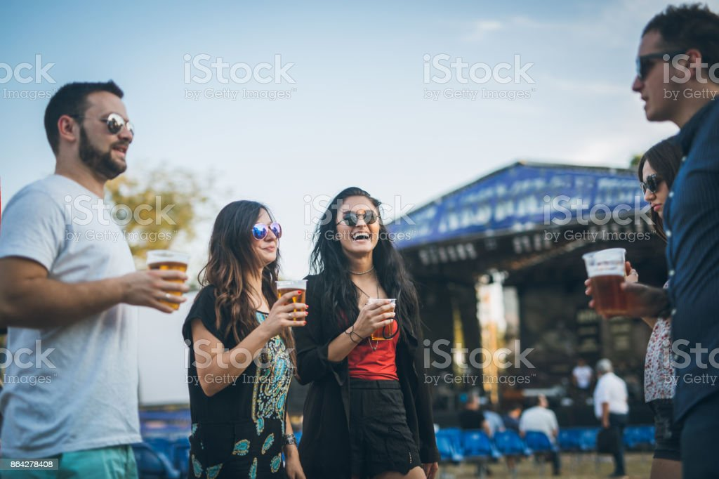 Group of friends at music festival royalty-free stock photo
