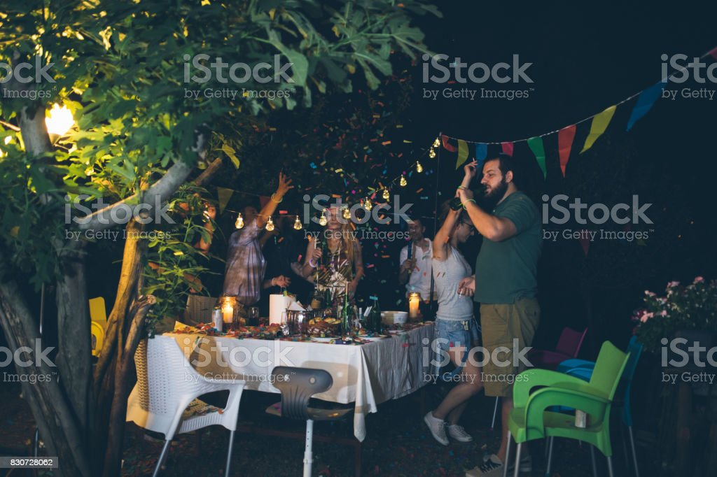 Group of friends at party stock photo