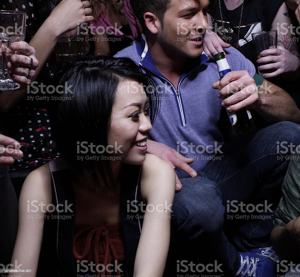 Group of friends at party royalty-free stock photo