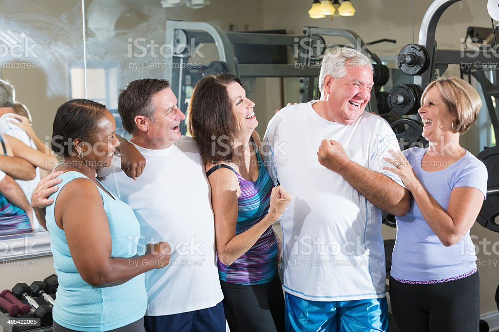Group of friends at the gym stock photo
