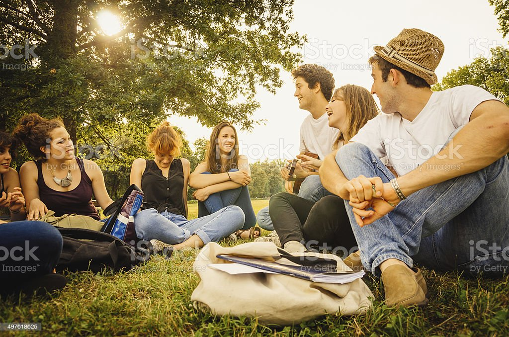 Gruppe von Freunden im park zusammen Lizenzfreies stock-foto