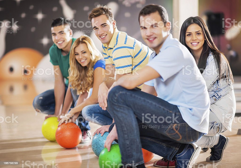 Group of friends bowling. royalty-free stock photo
