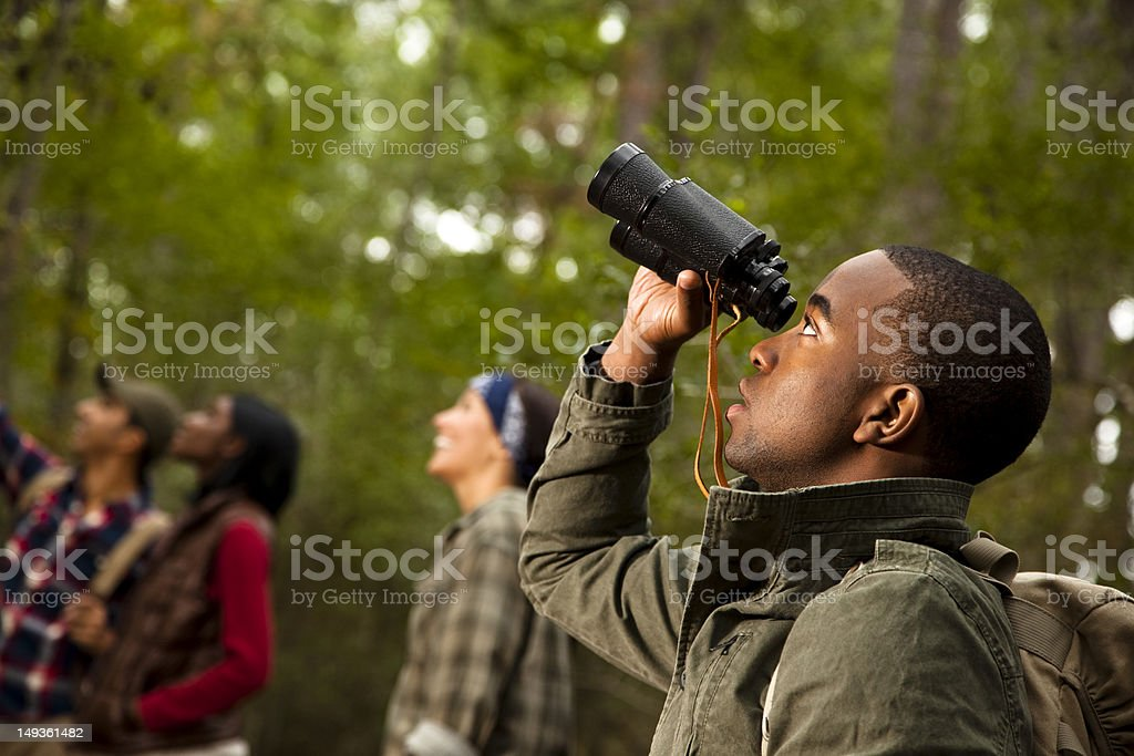 Group of friends camping and hiking using binoculars. Bird watching. stock photo