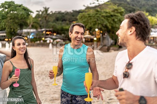 istock Group of friends celebrating at beach 1197838724