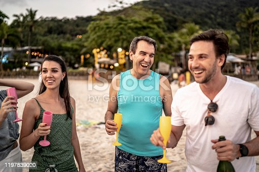 istock Group of friends celebrating at beach 1197839020